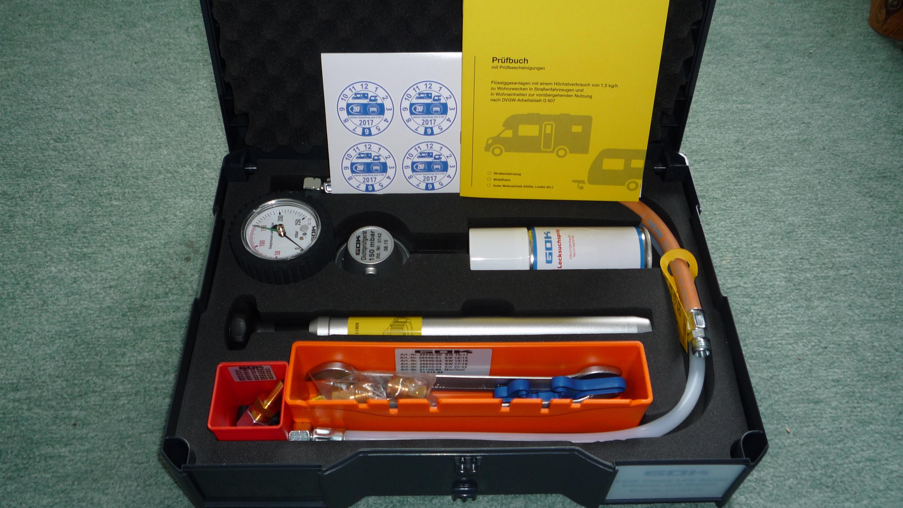 Koffer mit Prüfgerät für Gasprüfungen